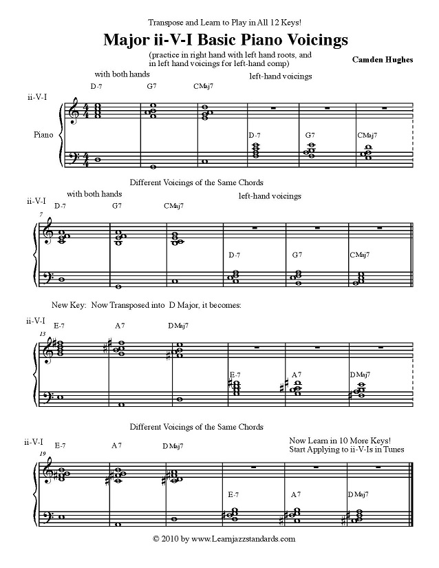 Very Basic Left Hand Comping Handout For Piano Learn Jazz Standards