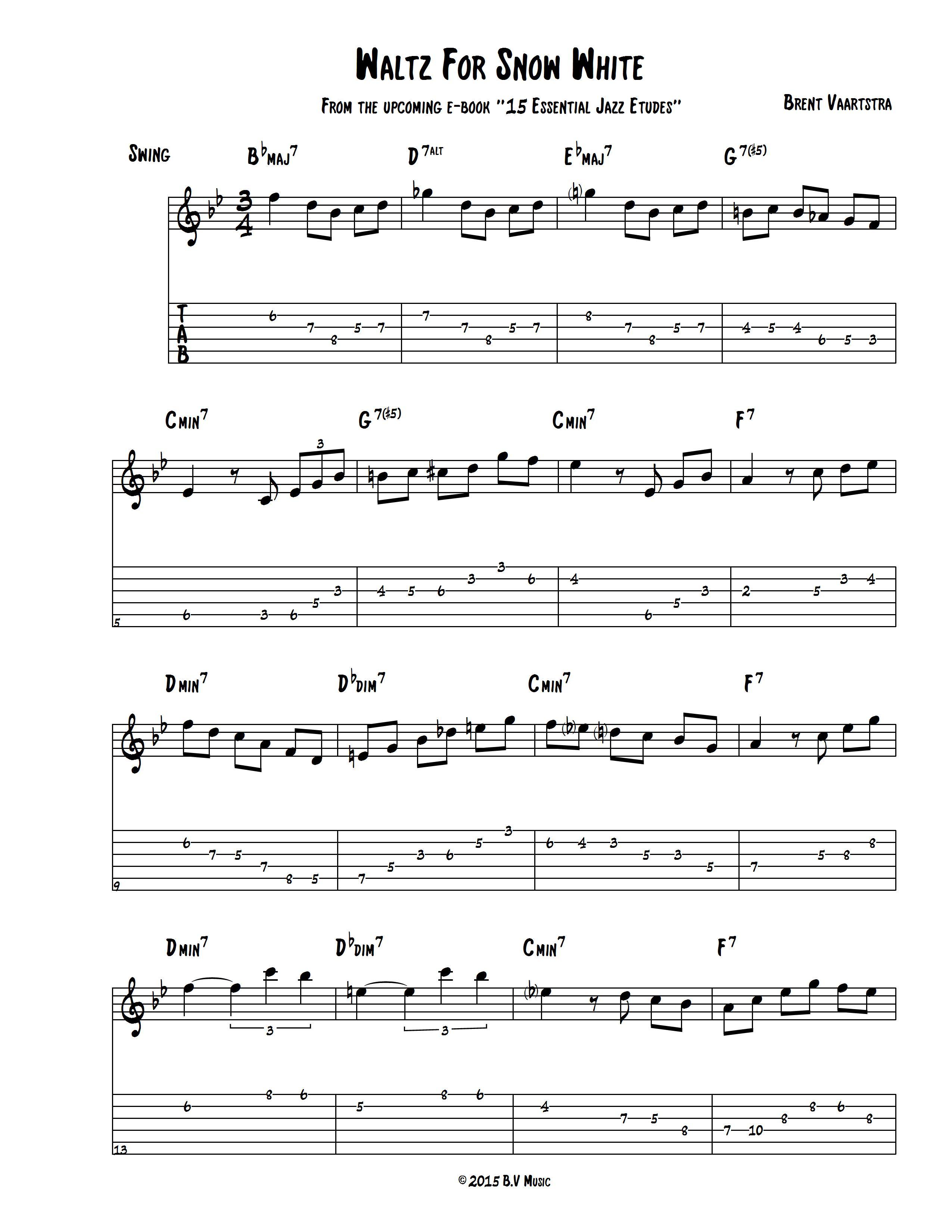 Jazz Etude: Waltz For Snow White - Learn Jazz Standards