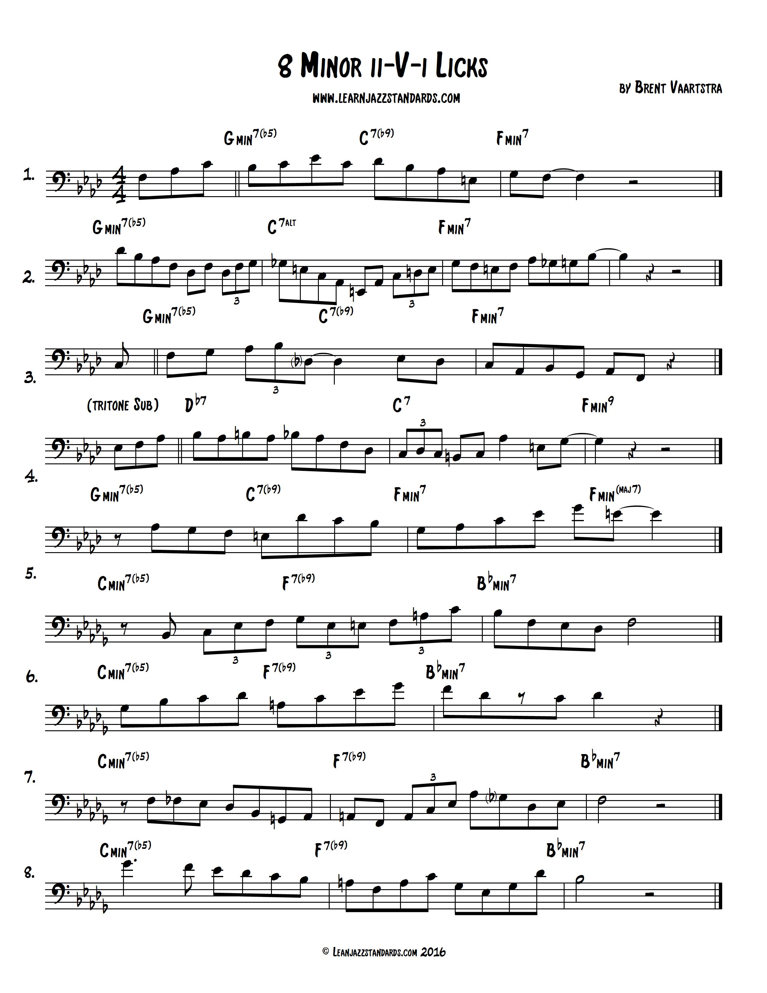8 Minor ii-V-i Licks - Learn Jazz Standards