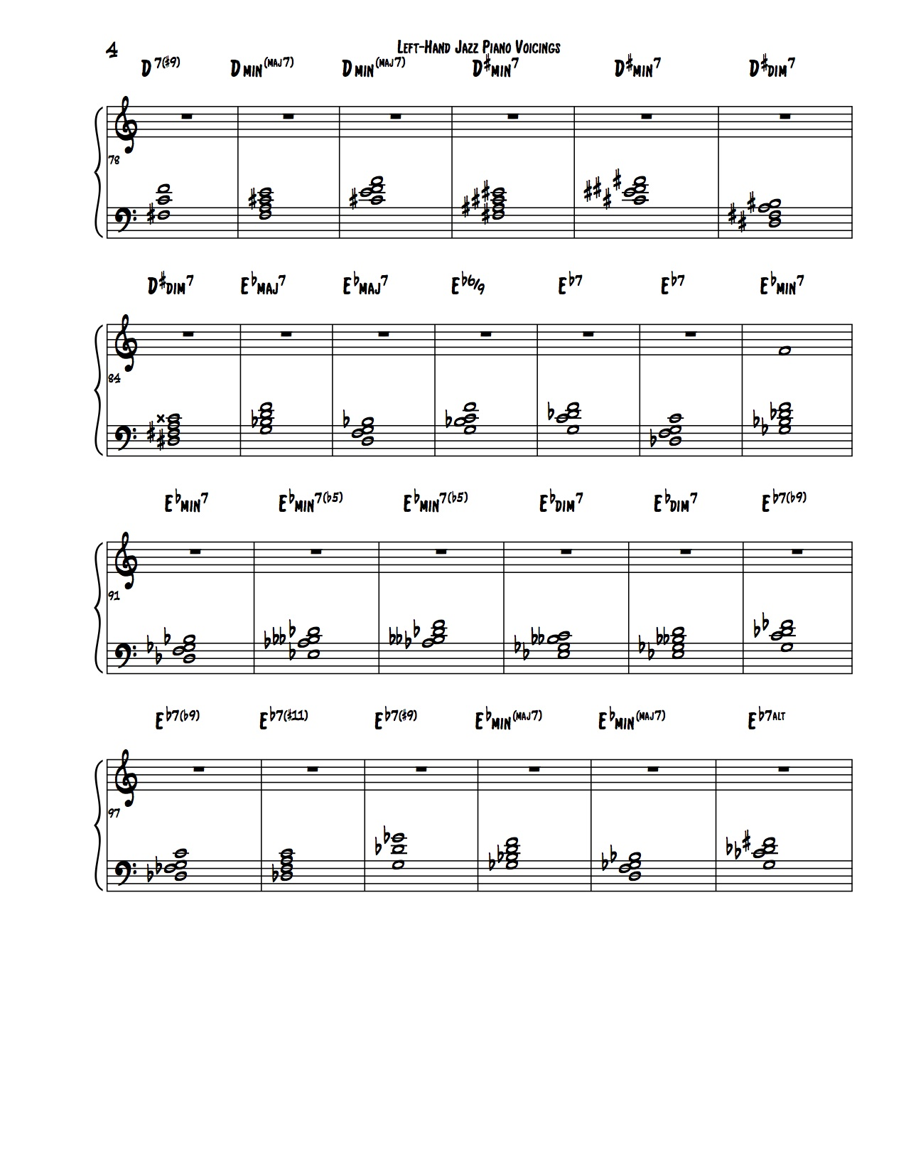 Encyclopedia of Left Hand Voicings 4