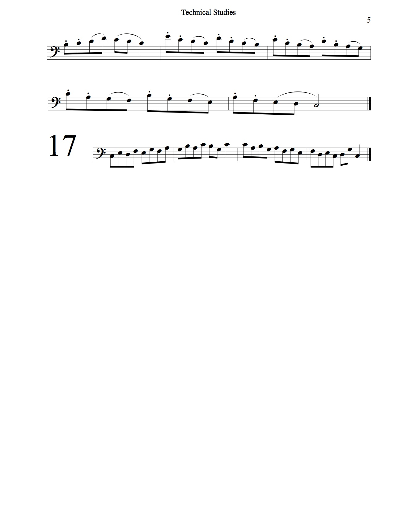 Technical Studies Bass Clef 5