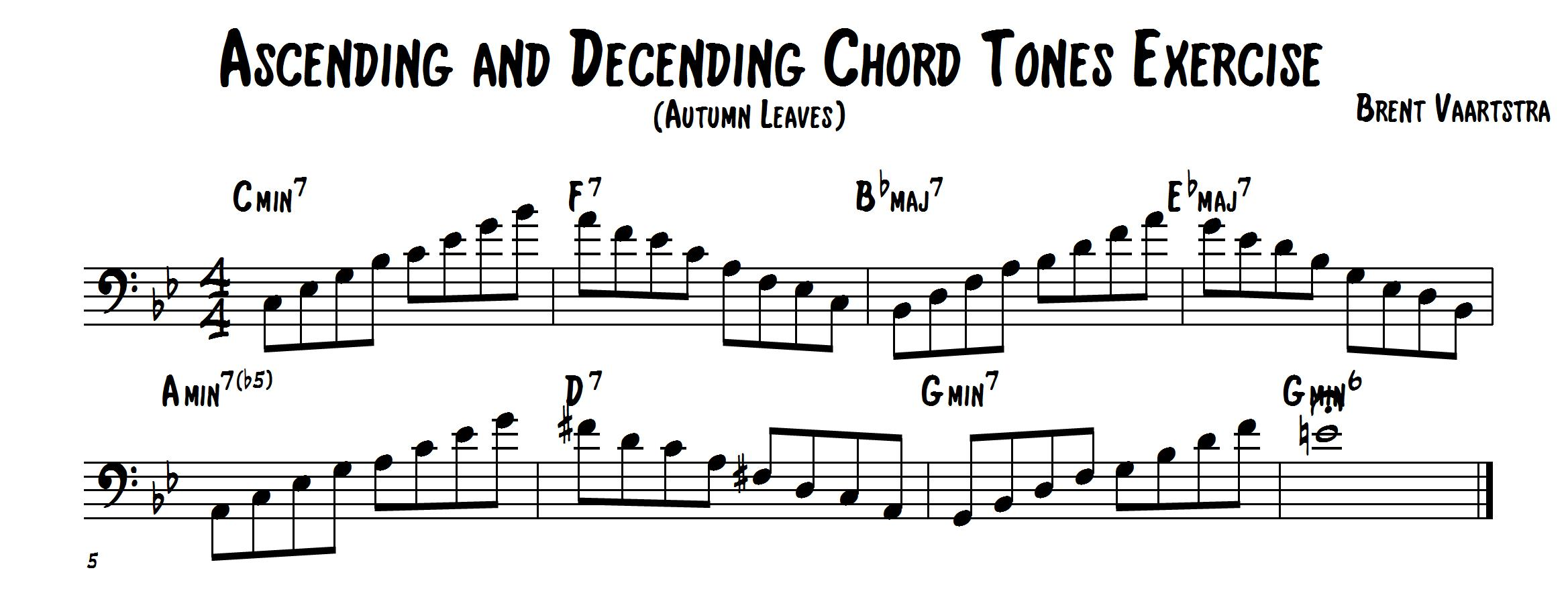 Ascending and Decending Chord Tones Exercise (Bass Clef)